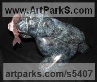 Bronze Bears sculpture by sculptor Mark Yale Harris titled: 'Fast Food (Little Bear and Fish sculpture)'