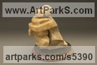 Alabaster on Marble Base Love / Affection sculpture by Mark Yale Harris titled: 'First Born (Mother/Child Semi abstract stone Carving)'