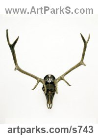 Bronze Deer sculpture by Mark Yale Harris titled: 'Georgia on My Mind (Deer Mask Antlers sculptures)'