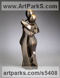 Bronze Love / Affection sculpture by Mark Yale Harris titled: 'Half Eaten Apple (abstract Hugging Lovers sculptures)'