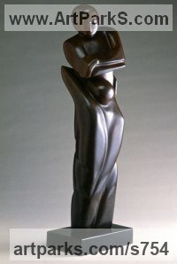 Colorado yule marble Human Form: Abstract by sculptor Mark Yale Harris titled: 'Letting Go (sculptures of lovers)'