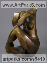 Bronze Reserved Reticent Aloof Withdrawn Introspective Calm sculpture statuette sculpture by sculptor Mark Yale Harris titled: 'No Secrets (abstract Contemporary Seated statue)'