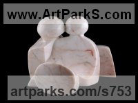 Portuguese Rose Marble Human Form: Abstract sculpture by sculptor Mark Yale Harris titled: 'The Way We Are (lovers kissing)'