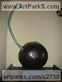 Bronze Fruit sculpture by sculptor Marta Leiva Gibbs titled: 'Cherry (Bronze Metal Big Black Fruit statues)'