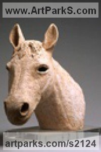 Terracotta Horse Head or Bust or Mask or Portrait sculpturettes statue figurines sculpture by sculptor Marta Leiva Gibbs titled: 'Horses Head (Terracotta Animal Bust Undersized sculptures)'