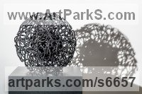 Welded Steel, Abstract Modern Contemporary Avant Garde Sculptures Statues statuettes figurines statuary both Indoor Or outside sculpture by Martha Walker titled: 'Heart of The Matter (Steel Wire Round Circular Small Indoor/Inside Art)'