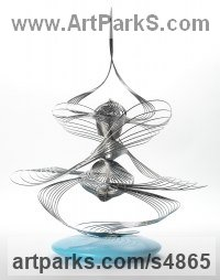 Marine Grade Stainless Steel with turned wooden base Abstract Modern Contemporary Avant Garde Sculptures Statues statuettes figurines statuary both Indoor Or outside sculpture by Martin Debenham titled: 'Improvisation 12 (stainless Steel Wire Modern statues)'