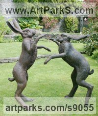 Bronze Animals and Birds at Play Sculptures Statues sculpture by Martin Duffy titled: 'Large Boxing Hares'
