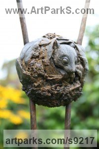 Iron resin and steel Small / Little Figurative sculpture / statuette / statuary / ornament / figurine sculpture by Martin Duffy titled: 'Nesting Harvest Mouse'
