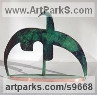 Copper Fabricated Metal Abstract sculpture by Martin Hayward-Harris titled: 'Caped Crane (abstract Flying Wader sculpture)'
