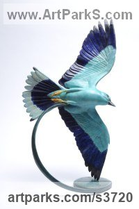 Bronze Wild Bird sculpture by Martin Hayward-Harris titled: 'Jewel in The Crown (European Roller statue)'