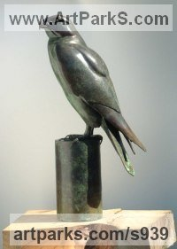 Bronze Wild Bird sculpture by Martin Hayward-Harris titled: 'Peregrine Falcon (Bronze Perched statuette)'