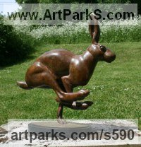 Bronze Hares and Rabbits sculpture by Martin Hayward-Harris titled: 'Running Hare (Bronze Mad March Hare statues)'