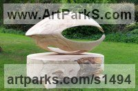 Spalted Beech Wood Shells Sculptures including Land and Sea and Freshwater Shells Fossil Shells sculpture by Martin Pigg titled: 'Beech Shell (Large Carved Wood abstract garden/Yard sculpture statue)'
