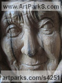 Oak Carved Wood sculpture by Martina Net�kov� titled: 'Beauty of Aged (Wood Old Lady Portrait Commissions)'