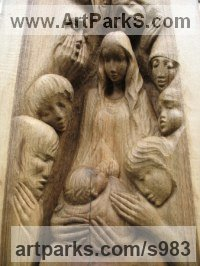 Wood - walnut Mother and Child, the Madonna, mother and children sculpture by Martina Net�kov� titled: 'Nativity Scene (CarvedHoly Family Relief statue)'