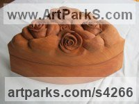 Plane-tree Fruit sculpture by Martina Net�kov� titled: 'Rose Box (Carved Wood Decorative Flowers/Floral Box)'