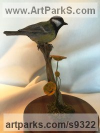 Wood Carved Wood sculpture by Martyn Bednarczuk titled: 'Blue Tit (Carved Life Coloured Indoor Bird statue)'