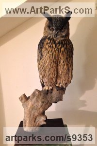Wood Wild Bird sculpture by Martyn Bednarczuk titled: 'Eagle Owl (Carved Painted Bird of Prey sculpture)'