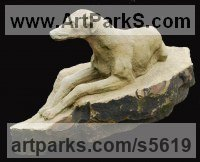Dogs sculpture by Martyn Bednarczuk titled: 'Hunting Hound (Carved stone Gray Hound garden sculpture Carving statue)'