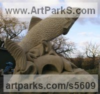 Sandstone Aquatic Sculptures Fish / Shells / Sharks / Seals / Corals / Seaweed sculpture by Martyn Bednarczuk titled: 'Salmon (Leaping Carved stone Outdoor garden/Yard statues sculpture)'