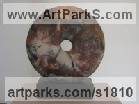 Ceramic Round Disk, Dish, Flat Circular Ring Shaped Sculptures / Statues statuette statuary sculpture by Mary Kaun English titled: 'Diginity (Circular Round abstract Indoor statue)'