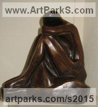 Bronze Resin Human Form: Abstract sculpture by Mary Quinn titled: 'Contemplation (bronze resin nude Girl Sitting Pondering statuettes)'