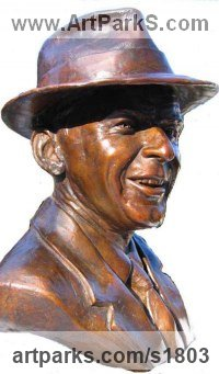 Bronze Musician and Musical sculpture by Mary Quinn titled: 'Frank Sinatra (Bronze Bust Portrait Head Face sculpture)'
