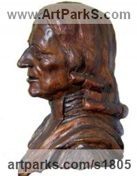 Bronze Musician and Musical sculpture by Mary Quinn titled: 'John Wesley (Bronze Portrait Bust Compassion sculptures)'