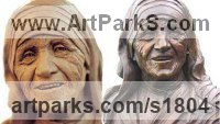 Bronze Portrait Sculptures / Commission or Bespoke or Customised sculpture by Mary Quinn titled: 'Mother Teresa (Fine Portrait Bust Bronze statues on sale)'
