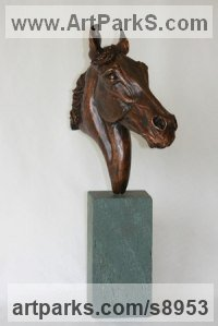 Bronze Horse Head or Bust or Mask or Portrait sculpture statuettes statue figurines sculpture by Mary Staffiere titled: 'Brave Heart (Small Horse Head Bust sculpture statue)'