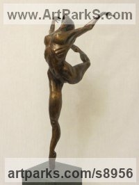 Bronze Nudes, Female sculpture by Mary Staffiere titled: 'Dancer (Little nude Ballerina Dancing bronze statue)'