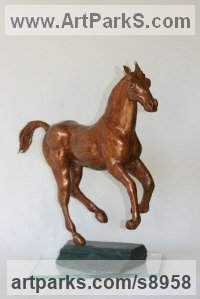 Bronze Horse and Rider / Jockey Sculpture / Equestrian sculpture by Mary Staffiere titled: 'High Spirits (Cantering Horse Little Indoor statue)'