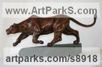 Bronze Cats Wild and Big Cats sculpture by Mary Staffiere titled: 'Intent (Little Prowling Hunting Lioness sculptures)'