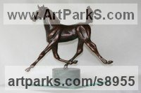 Bronze Horses Small, for Indoors and Inside Display Statues statuettes Sculptures figurines commissions commemoratives sculpture by Mary Staffiere titled: 'Kickstart (Lively Little Trotting Horse sculptures)'
