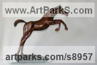 Bronze Animals and Birds at Play Sculptures Statues sculpture by Mary Staffiere titled: 'Leap of Faith (Little Jumping Horse Bronze sculpture)'