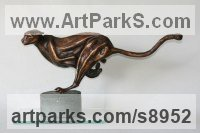 Bronze Predators Carnivores Hunters Flesh Eaters Sculptures Statues statuettes carvings sculpture by Mary Staffiere titled: 'Touching Distance (Sprinting Chasing Cheetah statue)'