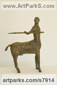 Bronze Centaurs and Unicorns and Seahorses sculpture by Marzia Colonna titled: 'Centaur (Small Little bronze Centaur Spear statuette figurine statue)'