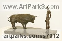 Bronze Cattle, Kine, Cows, Bulls, Buffalos, Bullocks, Heifers, Calves, Oxen, Bison, Aurocks, Yacks sculpture by Marzia Colonna titled: 'Man and Bull (Little Bronze Farmer Matador statues)'