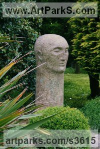 Bronze Human Form: Abstract sculpture by Marzia Colonna titled: 'Seeker (Big Outsize abstract Minimalist Head statue)'