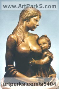 Bronze Mother and Child, the Madonna, mother and children sculpture by sculptor Masha Marjanovich titled: 'Mothers Love (Bronze Mother and Baby/Infant Torso sculptures/statues)'