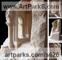 Sandstone Trompe l`Oeil Low Relief Panel Sculptures / Statues / panels sculpture by Matthew Simmonds titled: 'Romanesque stone (Carved Romantic Ruin statatue)'