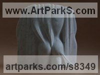 Carrara Pelacchi Marble Nude sculpture statue statuette Figurine Ornament sculpture by Michael Binkley titled: 'Behind the Curtain (Carved Draped nude Girl statue)'