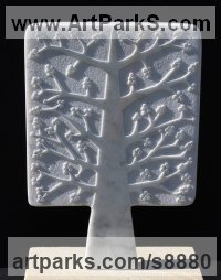Marble Square Rectangular Cube shaped Abstract sculpture statue sculpture by Michael Disley titled: 'marble Autumn Tree (Relief abstract panel Carving)'