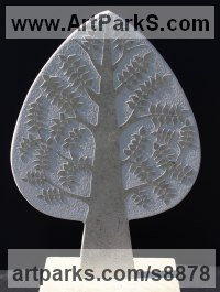 Marble Tree Plant Shrub Bonsai sculpture statue statuette sculpture by Michael Disley titled: 'marble Spring Tree (Wall Relief Carved Unique sculpture)'