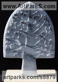 Marble Tree Plant Shrub Bonsai sculpture statue statuette sculpture by Michael Disley titled: 'marble Summer Tree (Naive Carved Wall Panel statues)'