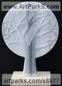 MARBLE Wall Mounted or Wall Hanging sculpture by Michael Disley titled: 'marble Winter Tree (Wall Plaque Relief Carved statue)'