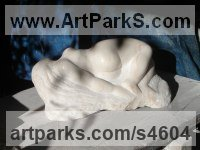 Marble Figurative Abstract Modern or Contemporary Sculptures Statues statuary statuettes figurines sculpture by Michael Hipkins titled: 'Dreamscape (Carved marble Sleeping nude Nymph/Girl sculpture statue)'