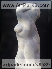 Italian Marble Nude sculpture statue statuette Figurine Ornament sculpture by Michael Hipkins titled: 'Figurehead (nude Well Built Woman abstract statues)'