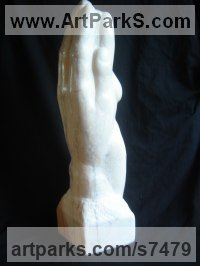 Portuguese Rose Marble Figurative Abstract Modern or Contemporary Sculptures Statues statuary statuettes figurines sculpture by Michael Hipkins titled: 'In the Palm of your Hand (nude Girl in Hand Carved marble statuette)'
